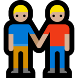Men Holding Hands: Medium-Light Skin Tone on Microsoft Windows 10 May 2019 Update