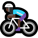 Woman Biking: Dark Skin Tone on Microsoft Windows 10 May 2019 Update