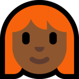 Woman: Medium-Dark Skin Tone, Red Hair on Microsoft Windows 10 May 2019 Update
