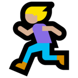 Woman Running: Medium-Light Skin Tone on Microsoft Windows 10 May 2019 Update