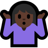 Woman Shrugging: Dark Skin Tone on Microsoft Windows 10 May 2019 Update