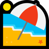 Beach With Umbrella on Microsoft Windows 10 Anniversary Update