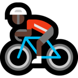 Person Biking: Dark Skin Tone on Microsoft Windows 10 Anniversary Update