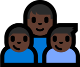 Family - Man: Dark Skin Tone, Boy: Dark Skin Tone, Boy: Dark Skin Tone on Microsoft Windows 10 Anniversary Update