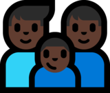 Family - Man: Dark Skin Tone, Man: Dark Skin Tone, Boy: Dark Skin Tone on Microsoft Windows 10 Anniversary Update