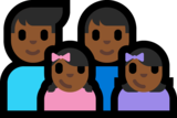 Family - Man: Medium-Dark Skin Tone, Man: Medium-Dark Skin Tone, Girl: Medium-Dark Skin Tone, Girl: Medium-Dark Skin Tone on Microsoft Windows 10 Anniversary Update