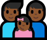 Family - Man: Medium-Dark Skin Tone, Man: Medium-Dark Skin Tone, Girl: Medium-Dark Skin Tone on Microsoft Windows 10 Anniversary Update