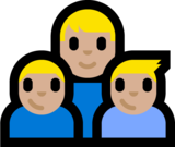 Family - Man: Medium-Light Skin Tone, Boy: Medium-Light Skin Tone, Boy: Medium-Light Skin Tone on Microsoft Windows 10 Anniversary Update