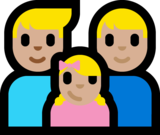 Family - Man: Medium-Light Skin Tone, Man: Medium-Light Skin Tone, Girl: Medium-Light Skin Tone on Microsoft Windows 10 Anniversary Update