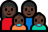 Family - Woman: Dark Skin Tone, Man: Dark Skin Tone, Baby: Dark Skin Tone, Baby: Dark Skin Tone on Microsoft Windows 10 Anniversary Update