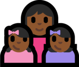 Family - Woman: Medium-Dark Skin Tone, Girl: Medium-Dark Skin Tone, Girl: Medium-Dark Skin Tone on Microsoft Windows 10 Anniversary Update