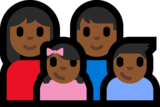 Family - Woman: Medium-Dark Skin Tone, Man: Medium-Dark Skin Tone, Girl: Medium-Dark Skin Tone, Boy: Medium-Dark Skin Tone on Microsoft Windows 10 Anniversary Update