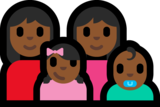 Family - Woman: Medium-Dark Skin Tone, Woman: Medium-Dark Skin Tone, Girl: Medium-Dark Skin Tone, Baby: Medium-Dark Skin Tone on Microsoft Windows 10 Anniversary Update