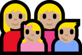 Family - Woman: Medium-Light Skin Tone, Woman: Medium-Light Skin Tone, Girl: Medium-Light Skin Tone, Boy: Medium-Light Skin Tone on Microsoft Windows 10 Anniversary Update
