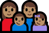 Family - Woman: Medium Skin Tone, Man: Medium Skin Tone, Boy: Medium Skin Tone, Girl: Medium Skin Tone on Microsoft Windows 10 Anniversary Update