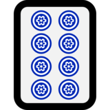 Mahjong Tile Eight of Circles on Microsoft Windows 10 Anniversary Update
