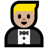 Person in Tuxedo: Medium-Light Skin Tone on Microsoft Windows 10 Anniversary Update