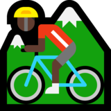 Person Mountain Biking: Dark Skin Tone on Microsoft Windows 10 Anniversary Update