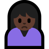 Person Frowning: Dark Skin Tone on Microsoft Windows 10 Anniversary Update