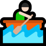 Person Rowing Boat: Light Skin Tone on Microsoft Windows 10 Anniversary Update