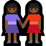 Women Holding Hands: Medium-Dark Skin Tone on Microsoft Windows 10 Anniversary Update