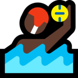 Person Playing Water Polo: Dark Skin Tone on Microsoft Windows 10 Anniversary Update