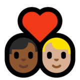 Couple with Heart: Man, Man, Medium-Dark Skin Tone, Medium-Light Skin Tone on Microsoft Windows 10 Creators Update
