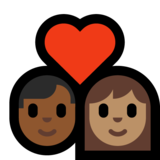 Couple With Heart - Man: Medium-Dark Skin Tone, Woman: Medium Skin Tone on Microsoft Windows 10 Creators Update