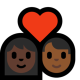 Couple with Heart: Woman, Man, Dark Skin Tone, Medium-Dark Skin Tone on Microsoft Windows 10 Creators Update