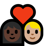 Couple with Heart: Woman, Man, Dark Skin Tone, Medium-Light Skin Tone on Microsoft Windows 10 Creators Update