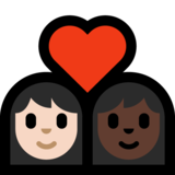 Couple with Heart: Woman, Woman, Light Skin Tone, Dark Skin Tone on Microsoft Windows 10 Creators Update