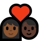 Couple with Heart: Woman, Man, Medium-Dark Skin Tone, Dark Skin Tone on Microsoft Windows 10 Creators Update