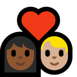 Couple with Heart: Woman, Man, Medium-Dark Skin Tone, Medium-Light Skin Tone on Microsoft Windows 10 Creators Update