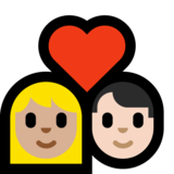 Couple with Heart: Woman, Man, Medium-Light Skin Tone, Light Skin Tone on Microsoft Windows 10 Creators Update