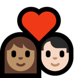 Couple with Heart: Woman, Man, Medium Skin Tone, Light Skin Tone on Microsoft Windows 10 Creators Update