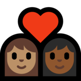 Couple with Heart: Woman, Woman, Medium Skin Tone, Medium-Dark Skin Tone on Microsoft Windows 10 Creators Update