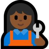 Woman Mechanic: Medium-Dark Skin Tone on Microsoft Windows 10 Creators Update