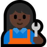 Woman Mechanic: Dark Skin Tone on Microsoft Windows 10 Creators Update