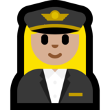 Woman Pilot: Medium-Light Skin Tone on Microsoft Windows 10 Creators Update