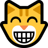 Grinning Cat with Smiling Eyes on Microsoft Windows 10 Creators Update