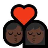 Kiss - Man: Dark Skin Tone, Woman: Dark Skin Tone on Microsoft Windows 10 Creators Update
