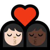 Kiss: Woman, Woman, Light Skin Tone, Dark Skin Tone on Microsoft Windows 10 Creators Update