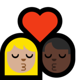 Kiss: Woman, Man, Medium-Light Skin Tone, Dark Skin Tone on Microsoft Windows 10 Creators Update