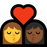 Kiss - Woman: No Skin Tone, Woman: Medium-Dark Skin Tone on Microsoft Windows 10 Creators Update