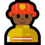 Man Firefighter: Medium-Dark Skin Tone on Microsoft Windows 10 Creators Update