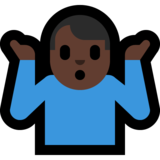 Man Shrugging: Dark Skin Tone on Microsoft Windows 10 Creators Update
