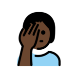 Person Facepalming: Dark Skin Tone on OpenMoji 12.0