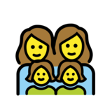 Family: Woman, Woman, Girl, Girl on OpenMoji 12.0