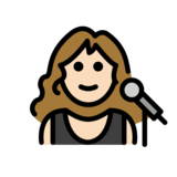 Woman Singer: Light Skin Tone on OpenMoji 12.0
