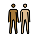 Men Holding Hands: Medium-Dark Skin Tone, Medium-Light Skin Tone on OpenMoji 12.0
